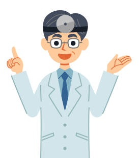 Standing doctor explaining with a smile with a head mirror.